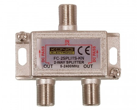 Split 2-way til f-connector m/DC-pass