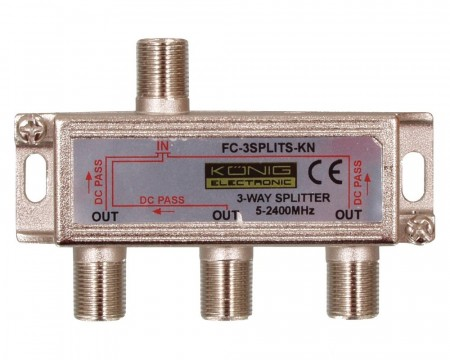 Split 3-way til f-connector m/DC-pass