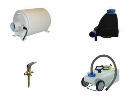 Vann- og avfallstanker, beredere, tilbehør